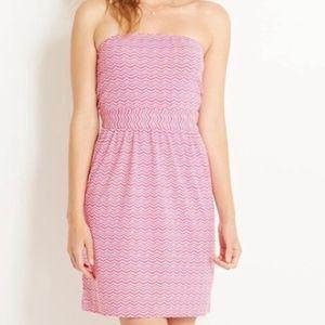 Vineyard Vines Pink White Whale Tail Chevron Dress